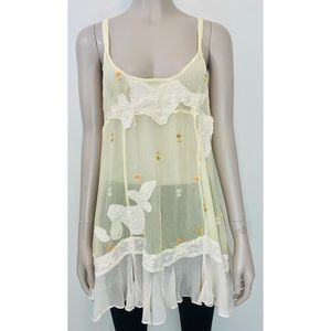 Free People Sheer Embroidered  Tank Top